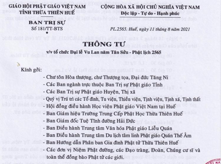 Thông tư về việc tổ chức Đại lễ Vu lan Pl.2565 tại Thừa Thiên Huế